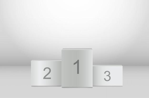 Белый подиум победителей, пьедестал, 3d подставка.