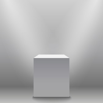 Пьедестал, белый пустой 3d подиум и прожекторов векторные иллюстрации.