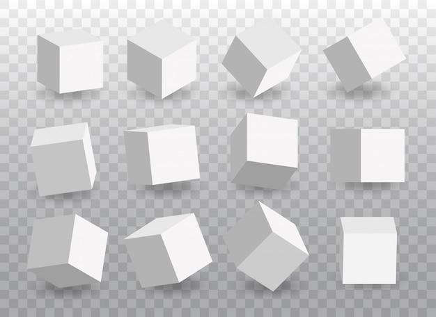 Набор белых векторных 3d кубов. иконы куба в перспективе.