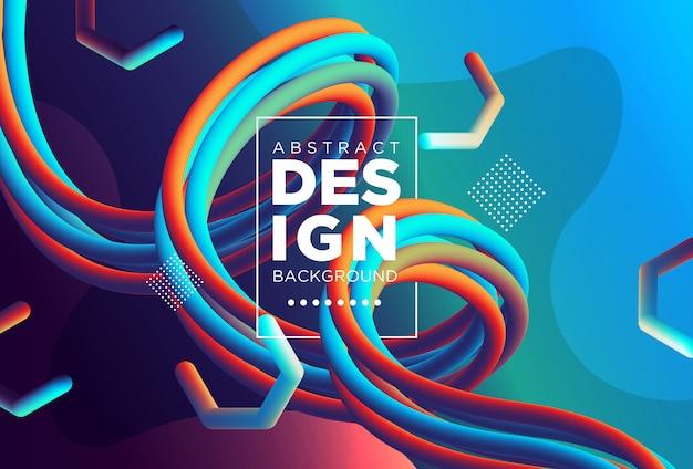 Креативный современный дизайн 3d формы потока. жидкие волны фоны