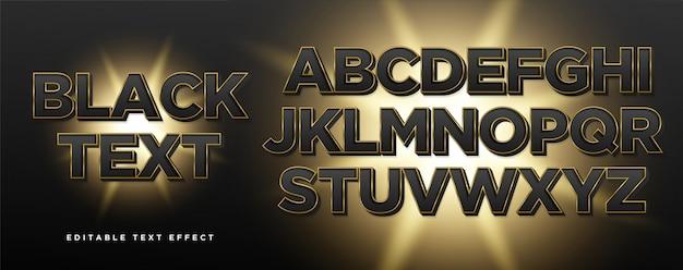 Эффект стиля текста черного золота 3d