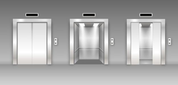 Хромированная металлическая офисная дверь лифта. открытый, закрытый и полузакрытый вариант. глянцевый пол в пустом коридоре 3d реалистично