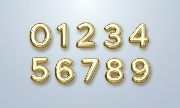 Золотые номера установлены. векторные 3d иллюстрации реалистичные блестящие персонажи. отдельные цифры.