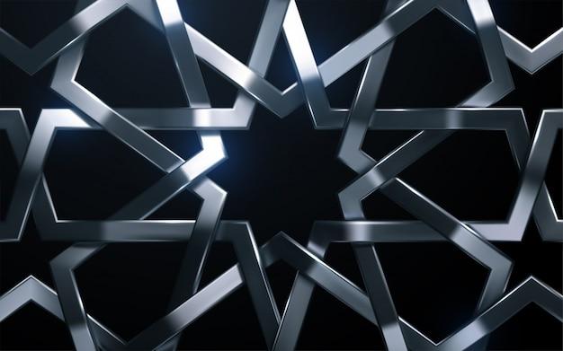 Серебряный арабский узор. 3d иллюстрации реалистичная тканая рама. гирих орнамент исламская геометрия. иллюстрация