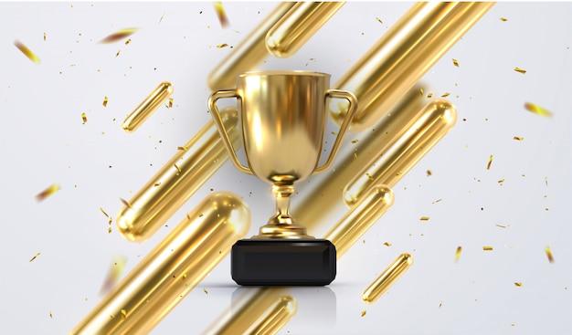 Реалистическая золотая чашка 3d изолированная на белой предпосылке. чемпионат трофея в окружении падающего конфетти. награда спортивного турнира