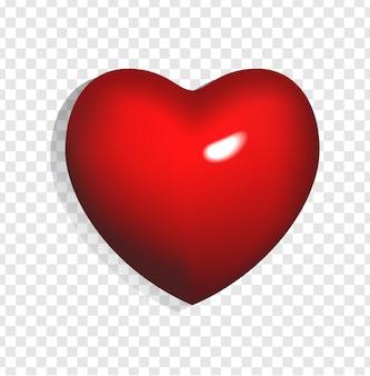 Иллюстрация ярко-красного 3d сердца, изолированных на прозрачном фоне. может быть использован для свадьбы, плаката, приглашения, открытки и веб-баннера. романтический элемент любви и день святого валентина.