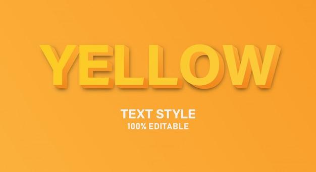 Желтый текстовый стиль, легко редактируемые 3d-символы шрифта трехмерный сжатый алфавит.