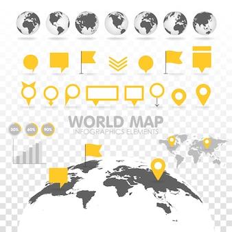 インフォグラフィック要素のセットを持つ世界地図3d。