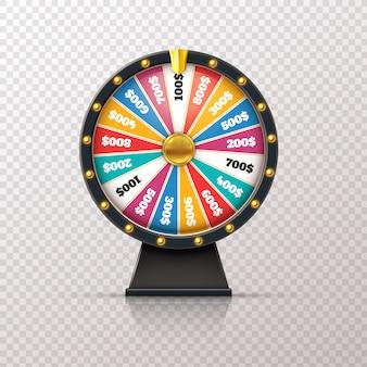 Колесо фортуны. приз казино, счастливая игра в рулетку, выиграть джекпот, денежный круг. шанс победителя игрового колеса 3d реалистичный