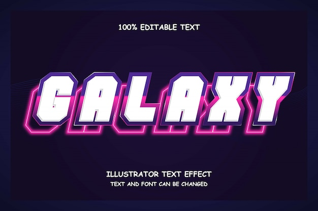 Галактика, 3d редактируемый текстовый эффект фиолетовый градация розовый современная тень неоновый стиль