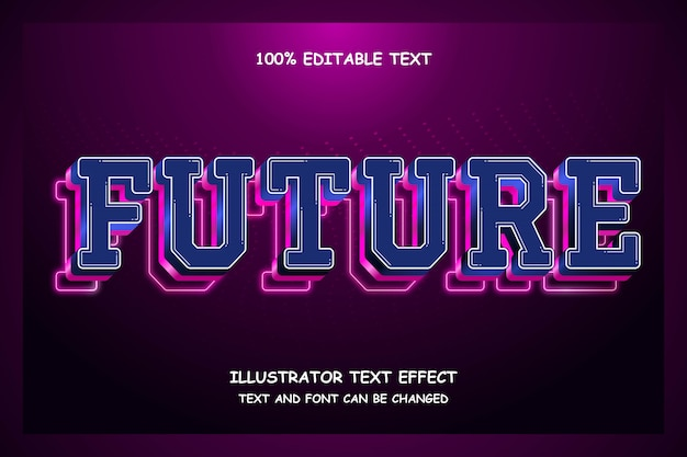 Будущее, 3d редактируемый текстовый эффект современный неоновый стиль