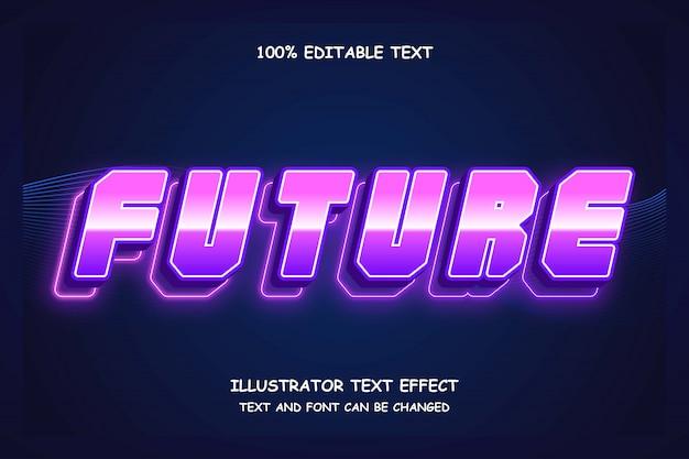 Будущее, 3d редактируемый текстовый эффект фиолетовый градация розовый современная тень неоновый стиль