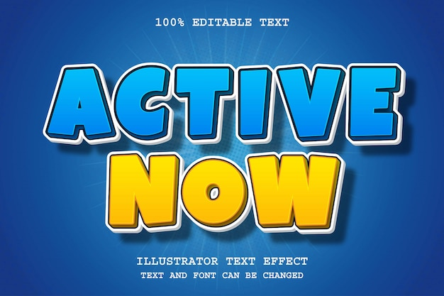 Активный сейчас, 3d редактируемый текстовый эффект синий желтый современный стиль тени комиксов