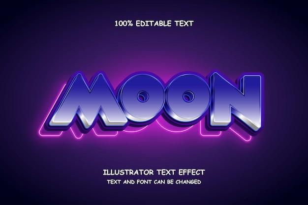Луна, 3d редактируемый текстовый эффект синяя градация белая современная тень неоновый стиль