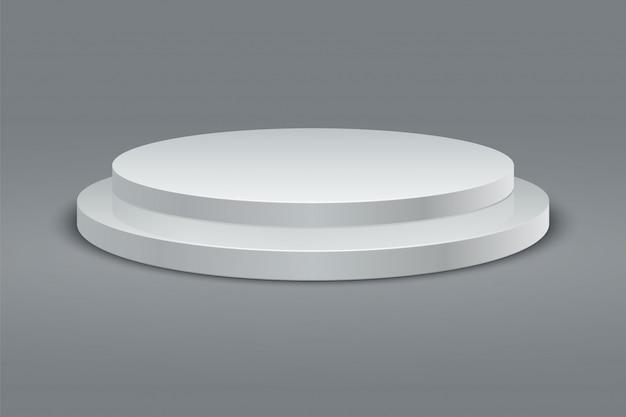 Круглый подиум. набор пьедестала победителя. 3d двухступенчатая платформа на сером фоне. вектор