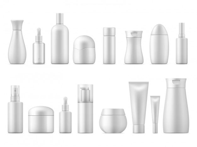 リアルなコスメティックパッケージ。白い製品ボトルプラスチックローションシャンプースプレーコンテナーブランク3dチューブパックディスペンサーテンプレート