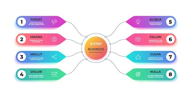 Шаг 3d инфографики. реалистичные круг графическая диаграмма, круглая диаграмма бизнес макет, шаг презентации. баннер рабочего процесса