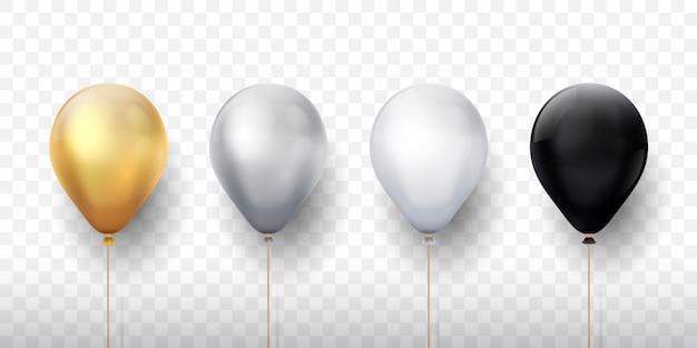 Реалистичные воздушные шары. золотые 3d прозрачные партийные воздушные шары, серебряное белое украшение дня рождения. праздничный баллон