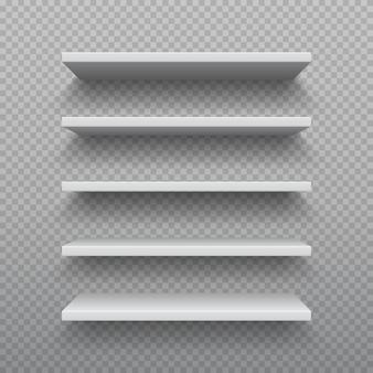 現実的な本棚。白い合板の空の壁の棚、現代の堅材の家具、3dビジネス小売棚のセット