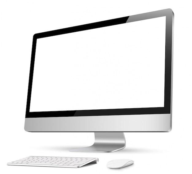 Компьютер, реалистичный, 3d с клавиатурой и мышью