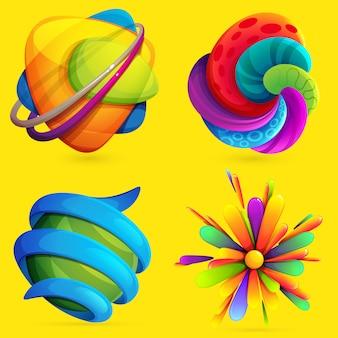 3dボリュームセットと抽象的な狂気の球。