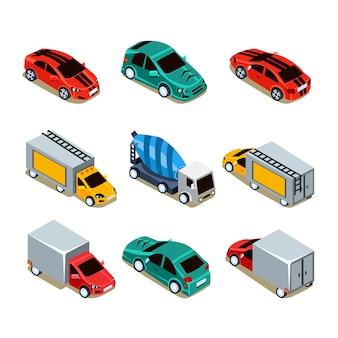 Транспортный набор. плоские 3d изометрические