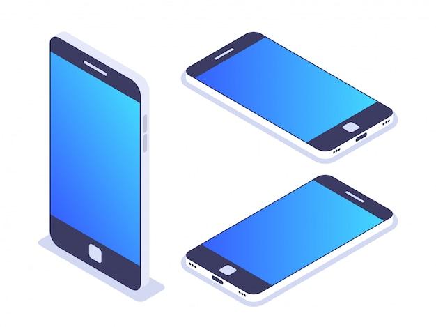3d изометрические мобильный телефон. слева, справа и сверху. смартфон для использования на рекламных баннерах или веб-сайте