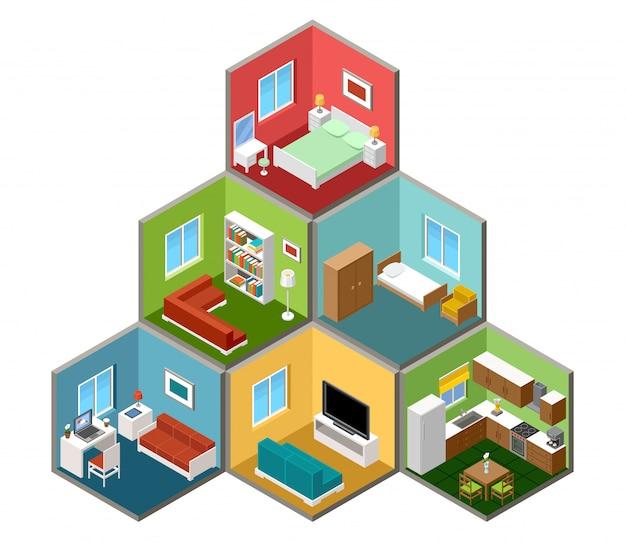 Плоский 3d изометрический интерьер дома