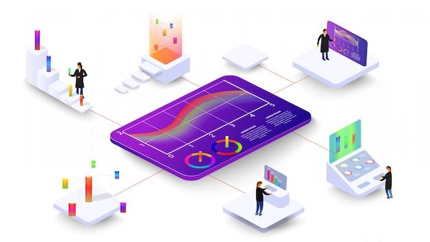 Люди изучают динамические процессы на графиках и диаграммах. 3d изометрические инфографика.