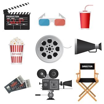 Кино 3d иконки иллюстрации