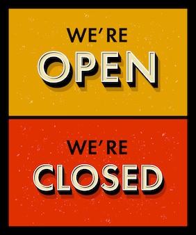 Надписи мы открыты закрыты для двери знак в винтажном стиле гранж. 3d буквы со скосом