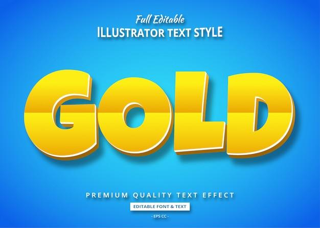 Золотой мультяшный 3d эффект стиля текста