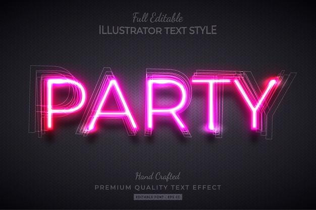 Неоновая вечеринка редактируемый 3d текст стиль эффект премиум