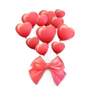 Счастливая поздравительная открытка дня святого валентина. 3d красный и розовый шар в форме сердца. иллюстрация