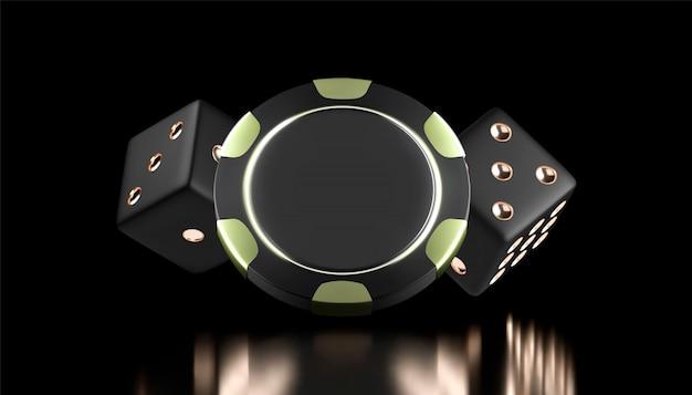 Казино фон. казино игры 3d фишки и кости. интернет казино баннер. черно-золотой реалистичный чип. азартные игры концепция, значок мобильного приложения покер.
