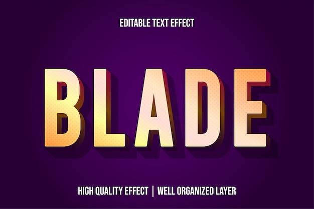 Лезвие, золотой 3d текстовый шаблон стиля эффекта