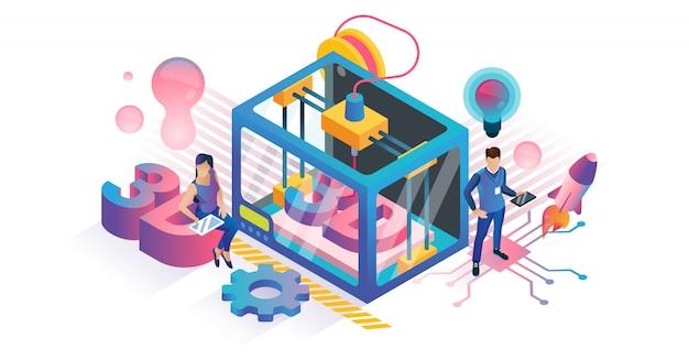 Изометрическая концепция 3d-печати