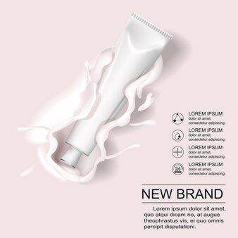 化粧品製品広告ポスターテンプレート。化粧品のモックアップデザイン。クリーミーローションスプラッシュ付きのクリームチューブパッケージ。 3d