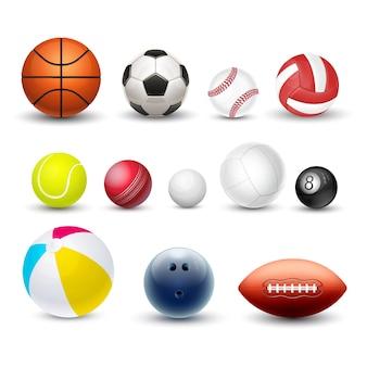 Спортивные мячи, векторные 3d реалистичные набор макетов.