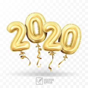 3d реалистичные, изолированные с золотыми шариками геля, как числа две тысячи двадцать воздушных шаров