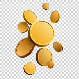 Набор золотых монет. изолированные 3d объекты в разных ракурсах. металлический градиент. символ золота и богатства. свободное место для вашего текста. иллюстрации.