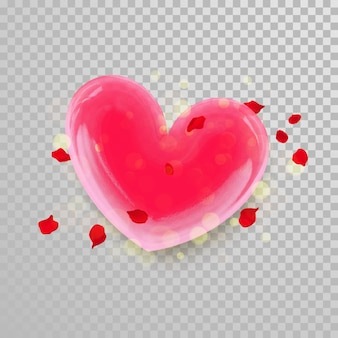 3d сердце и лепестки цветов на фоне прозрачного