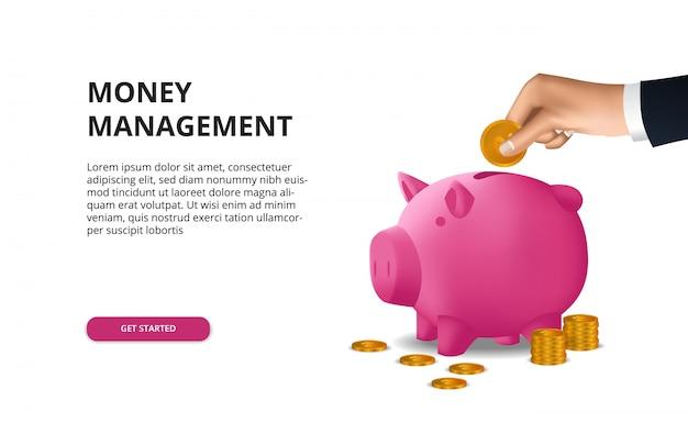 手でお金の投資予算を節約して、3dピンクの貯金箱に黄金のコインを入れる