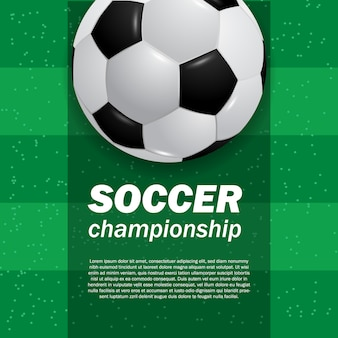 3d мяч футбол футбол на зеленом поле стадиона вид сверху футбол
