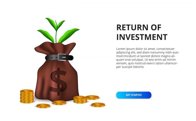 Возврат инвестиционной концепции окупаемости инвестиций с изображением денежного мешка с полными 3d золотыми монетами и листьями растений, вид сбоку