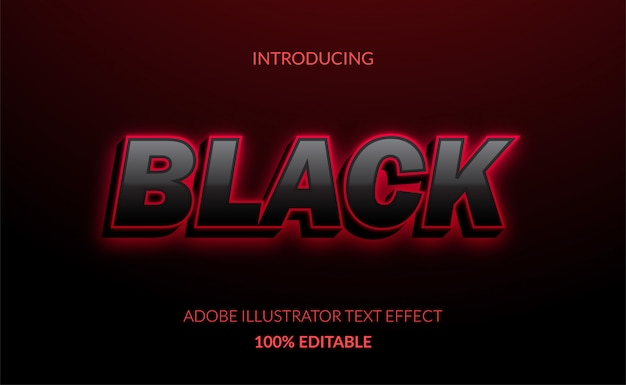 3d черный текстовый эффект со светящимся красным неоновым цветом для плаката черной пятницы и названия для продажи.