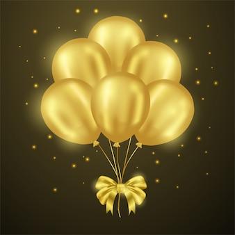 3d金色のバルーンパーティー、光沢のあるリボン