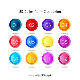 3d красочная коллекция пули