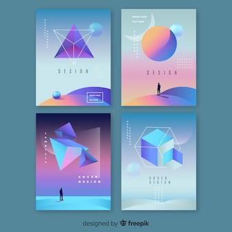 Коллекция брошюр с плавающими 3d градиентными полигонами