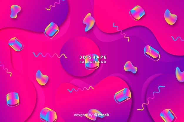 Красочный градиент 3d фон формы